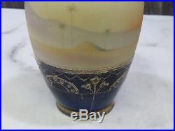 1920s Noritake Hand Painted Vase Man on Camel Polychrome Rider Desert Cobalt