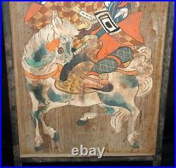 19C Japanese Meiji Shinto Ema Large Sign Painting Kabuki Rider (PoD)