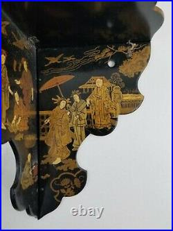 2 Antique Chinoiserie Japanese Lacquer Folding Corner Shelf Hand Painted Figures