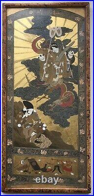 2 Original Antique Japanese School Samurai Figures Dragon Embellished Paintings