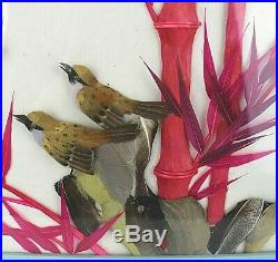 3 D picture Mother baby bird chick Japanese Chinese Oriental Feathers Vtg Framed
