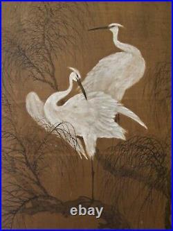 9 Huge & Monumental Antique Oriental Chinese Japanese Wallpaper Paintings Cranes