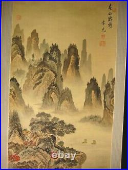 ANTIQUE CHINESE c. 1930 HAND PAINTED SCROLL MOUNTAIN SIDE SCENE