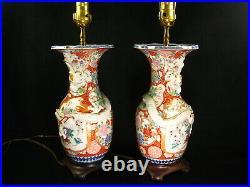 ANTIQUE JAPANESE MEIJI HAND PAINTED CERAMIC IMARI LAMP w CHINESE STYLE DRAGON