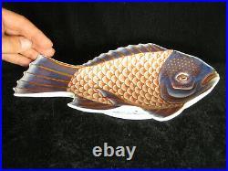 ANTIQUE JAPANESE MEIJI (c1895) FUKUGAWA IMARI CERAMIC HAND PAINTED PLATE FISH