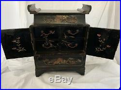 ANTIQUE Vintage JAPANESE LACQUER TABLE CABINET trinket jewel box painted drawers