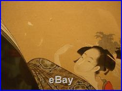 ARTIST Chobunsai Eishi JAPANESE COLOR PAINTING ON SILK 42 1/2 HEIGHT