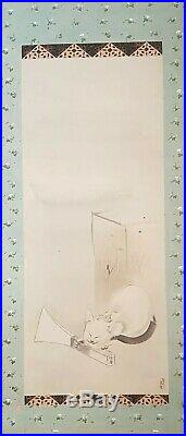 An Exquisite Meiji Period Sumi Ink Scroll Painting of a Cat. Signed Kenzan