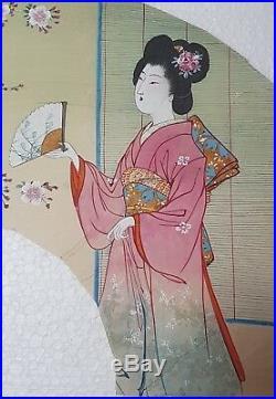 An Original ink & Watercolour Meiji period Kyoto Fan Painting
