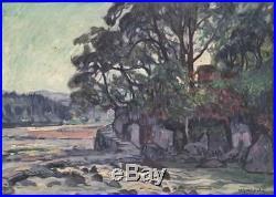 Antique 1920's Yoshida Hiroshi Hita Kameyama Park Woodblock Print Oil painting