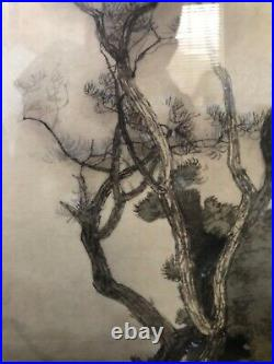 Antique Asian Japanese Meiji Ink Calligraphy Painting Shibahara Gisho