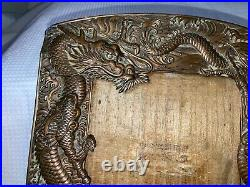 Antique Bronzed Japanese Dragon Reptile Serpent Photograph Picture Frame Copper