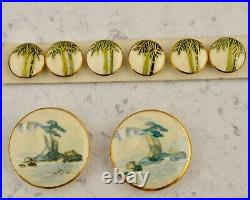 Antique Bulk Lot x16 hand painted Satsuma Japanese ceramic Buttons & Beads