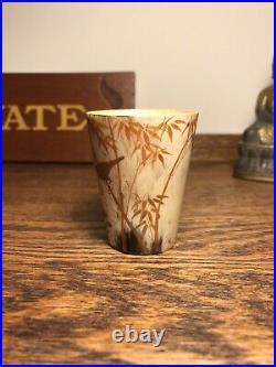 Antique C19th Japanese Hand Painted Horn Cup Beaker Shibayama Decorative Bird
