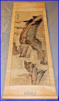 Antique Chinese Ink Wash Painting Hanging Scroll Man In Robe Overlooking Cliff