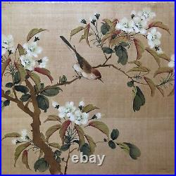 Antique Chinese /japanese Sparrow & Tree Watercolor Painting On Silk. Sealed