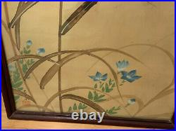 Antique Chinese or Japanese Signed Painting on Silk Praying Mantis Flowers Dec