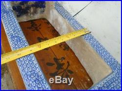 Antique Edo Era Japanese Toilet, Blue White Hand Painted China Pottery Spa Foot