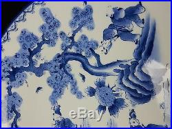 Antique Hand Painted Japanese Blue and White Charger 18 inches
