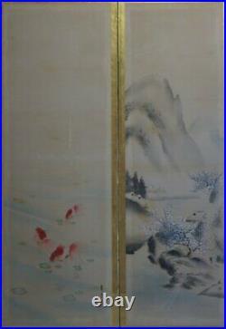 Antique Japan Byobu wind screen 1890s Japan interior painting