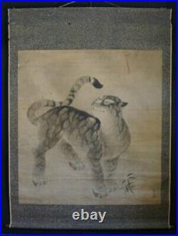 Antique Japan Neko-Tora painting on paper scroll 1750 Sumi-e Zen art