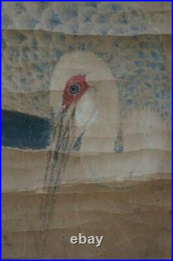 Antique Japan scroll Tsuru birds paper painting 1800s Edo era craft