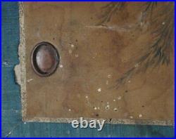 Antique Japan sliding panels Fusuma hand painted on silk 1700s architecture