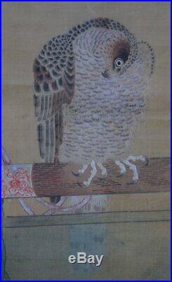 Antique Japan white Taka falconry Edo art painting on paper 1750 craft