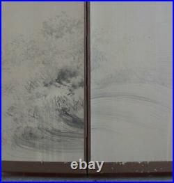 Antique Japan wind screen painting Sumi-e sea waves 1890 Zen art