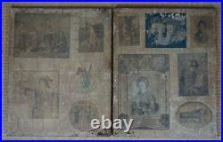 Antique Japanese Byobu wind screen painting 1700s Japan Karako art
