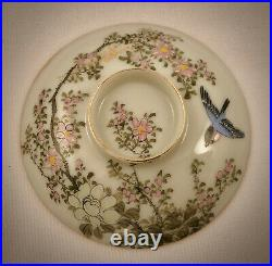 Antique Japanese Covered Soup Cup & Saucer