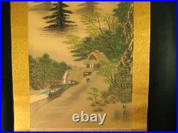 Antique Japanese Early Showa Era Signed Scroll Hand Painted Tea House & Scenery