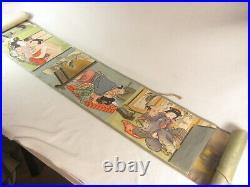 Antique Japanese Edo Era (c. 1840) Shunga 12 Hand Painted Erotic Scenes 12' Long