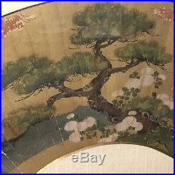 Antique Japanese Fan Painting, Hand Painted, Mounted & Framed, Pine Tree, C 1800