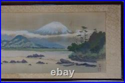 Antique Japanese Fuji land scape painting with frame 1900s art Japan interior