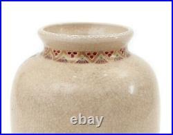 Antique Japanese Hand Painted Enamelled Wisteria Satsuma Ware Pottery Vase