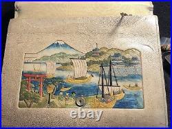 Antique Japanese Hand Painted Leather Purse/ Handbag