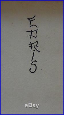 Antique Japanese Ink On The Paper Painting 2 Young Women Make Up Signed