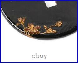 Antique Japanese Iron Tsuba Painted with Black and Gold Urushi