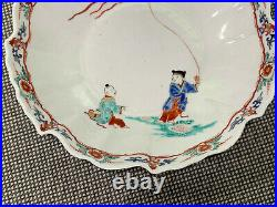 Antique Japanese Kakiemon Porcelain Pair of Dishes Painted Children Flying Kite