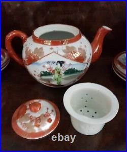 Antique Japanese Kutani Geisha Hand Painted TEA SET circa 1900