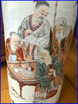 Antique Japanese Kutani (Meiji) Beautiful Hand Painted Colorful Signed Vase 24