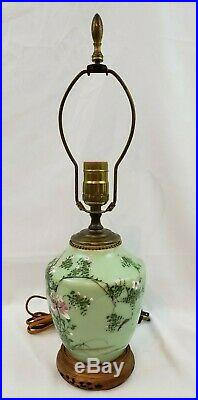 Antique Japanese Meiji Era Celadon Lamp Hand Painted Light Chinese Raised Flower