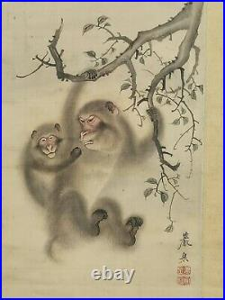 Antique Japanese Meiji Period Ink On Silk Framed Monkeys Red Seal Painting