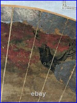 Antique Japanese Painting Hand Fan KANO SCHOOL 18th c Edo Pd. Gilt Scroll Screen