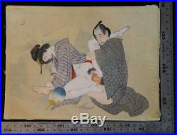 Antique Japanese Shunga erotic art painting on silk 1880s Meiji original