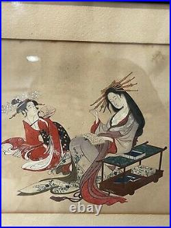 Antique Japanese Signed Ink & Watercolor Painting of 2 Women Reading