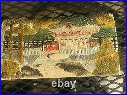 Antique Japanese Themed Hand Painted Tooled Leather Wallet Clutch Purse Japanese