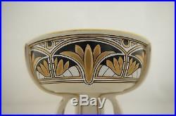 Antique Japanese signed Noritake hand painted Art Nouveau pedestal tazza bowl