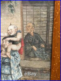 Antique Meiji Period Japanese Watercolour On Fabric The Bird Caller
